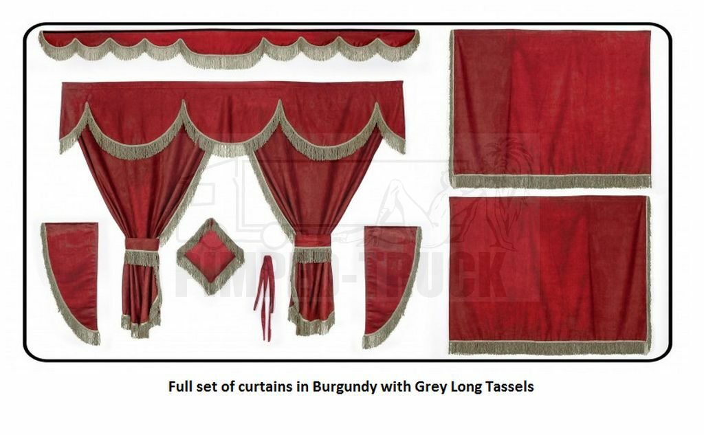 TRUCK CURTAINS Burgundy Full Set Of Lined Curtains Long Tassels