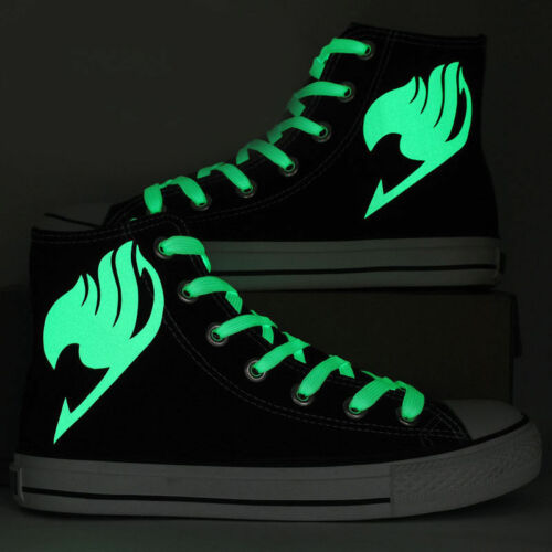 Unisex Anime Shoes Hand Painted Fairy Tail Luminous Logo High Top Canvas Shoes