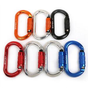 25KN-Aluminum-Outdoor-Rappelling-Climbing-Oval-Carabiner-Twist-Auto-Locking-Hook