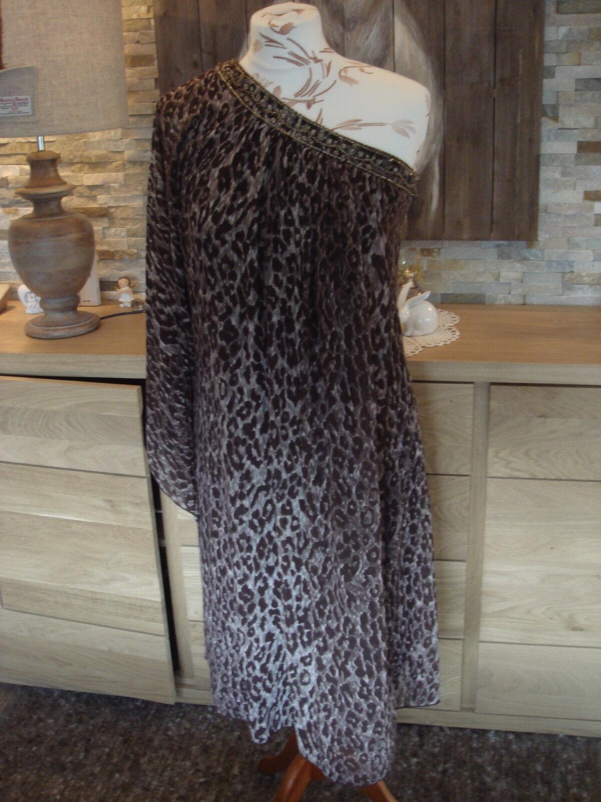 Tolles ausgefallenes Kleid Etui Stil Ziersteine 1 Arm extra Volant Oben Gr. 36