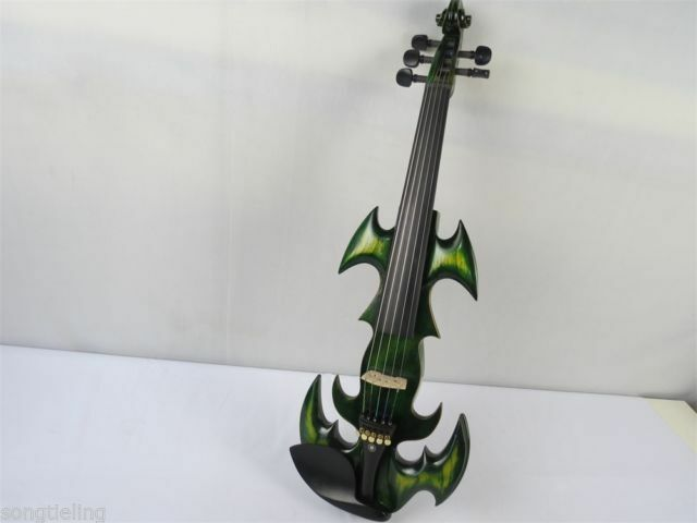 Green color solid wood 5 strings 15   electric purple,good sound free case bow