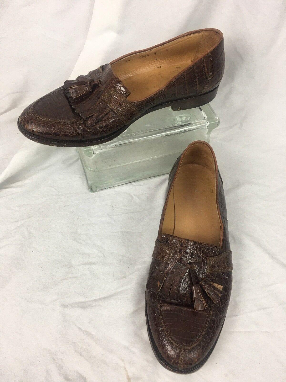 * Johnson & Murphy *  Brown Crocodile Loafers 9 Made in Italy Scarpe classiche da uomo