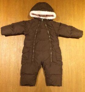 0e587c5b26a7 Baby Gap Brown Pink Girls Fur Padded Snowsuit Pramsuit 6-12 Months ...