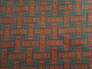 """Vintage Cotton Blend Fabric Red & Blue Geometric Gold Paisley on Green 2 Yd/36"""""""
