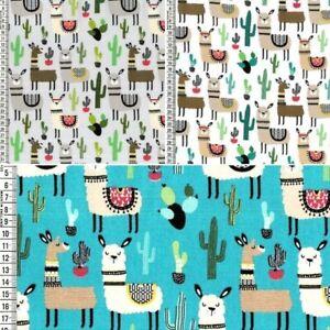 100-cotone-tessuto-fantasia-LLAMA-Alpaca-animali-e-cactus-cactacee-larghezza-150cm