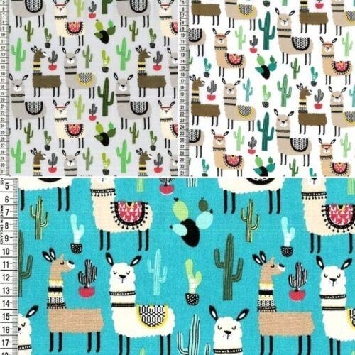 100/% Cotton Fabric Fancy Llama Alpaca Animals and Cactus Cacti 150cm Wide