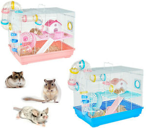 NEW-LITTLE-ZOO-MOUSE-DWARF-HAMSTER-CAGE-PLAY-HOUSE-W-TUBES-2-COLOURS