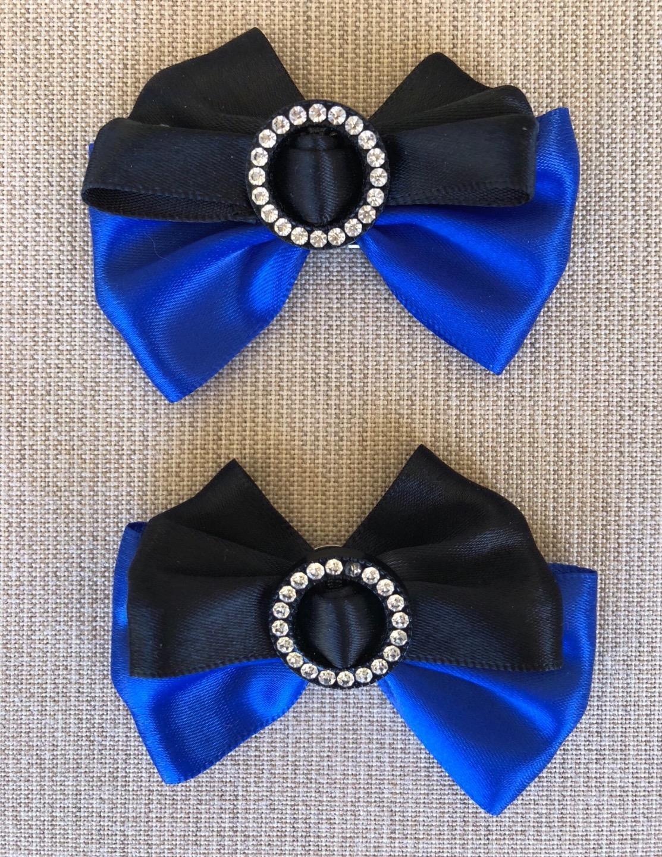 VINTAGE SHOE JEWERY / COBALT & BLACK SATIN & RHINESTONES/ Evening wear