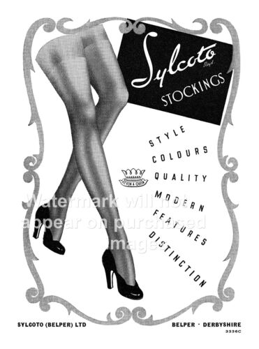 Vintage magazine advert poster reproduction. Sylcoto Stockings