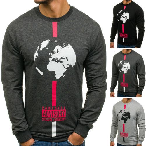 Herren Sweatshirt Langarmshirt Pullover Longsleeve Lang Rundhals BOLF 1A1 Print