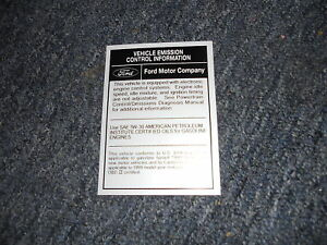 1999 FORD MUSTANG SVT COBRA ENGINE EMISSIONS DECAL