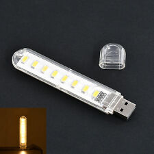 Mobile Power USB LED Lamp 8 Leds Lamp Lighting Computer Night Light Warm White