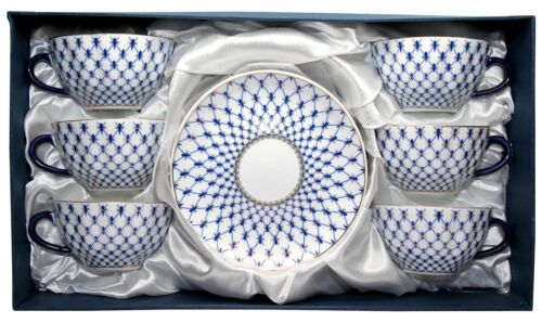 Lomonosov 12pc Tea or Coffee Cups Set Russian Saint Petersburg Cobalt Blue Net