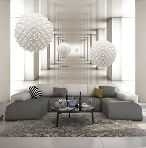 carta da parati 3d effeto bianco tunel foto murale design moderno ebay. Black Bedroom Furniture Sets. Home Design Ideas