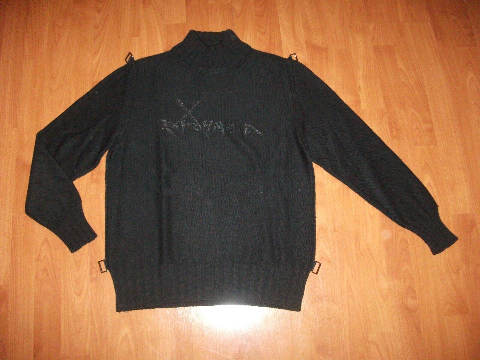 Orig. Richmond Kragen Pullover m in  Gr. XL ca. 54 Schwarz Wolle Top