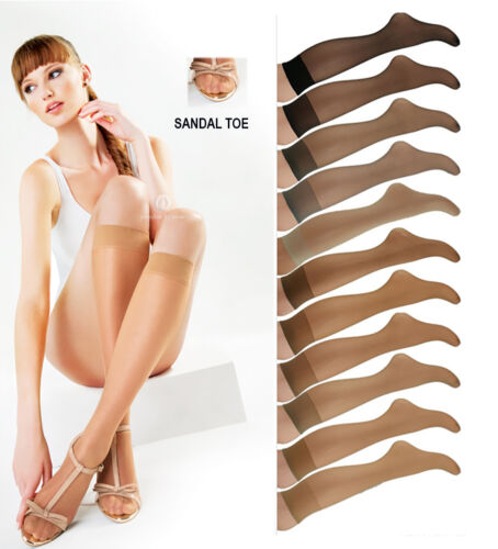 Sentelegri Knee highs Ultra transparent with Sandal Toe for the Summer,2 Pairs