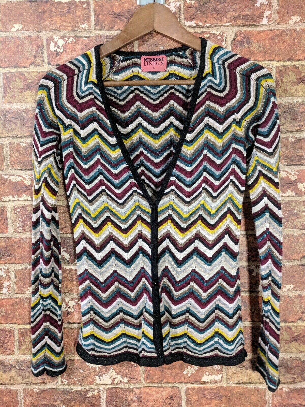 Missoni Lindex sz S Cardigan Zig Zag Chevron Multicolor Viscose Knit