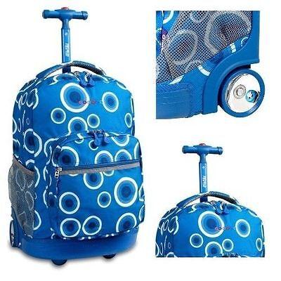 Wheeled Backpack School Rolling Bookbag Luggage Travel Kid Carry On Bag 18 Blue