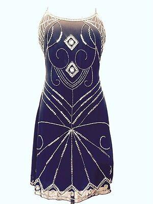 Blue Vintage 1920s Flapper Gatsby Downton Abbey Fringe Beaded Dress Size 8-18