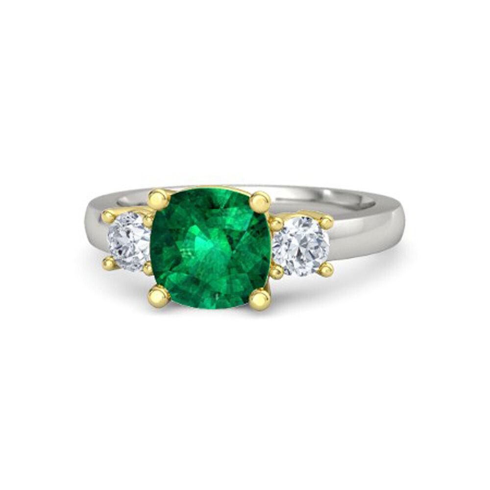 2.50 Ct Diamond Ring Natural Green Emerald Gemstone 950 Platinum Rings Size 5 6
