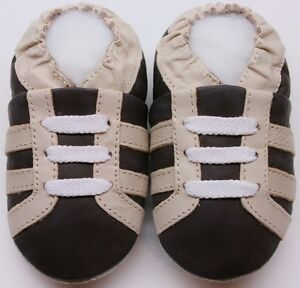 Minishoezoo soft sole baby leather shoes boots brown 6-12m gift walking
