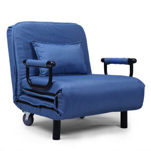 Folding Sleeper Flip Chair Convertible Sofa Lounge Couch Pillow US Blue