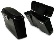Black Hard Saddlebags Trunk w/Lid & Latch Kit for Harley Softail Dyna Sportster