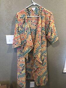 Lularoe-Shirley-Kimono-48-Taglia-Small-0-8-lungo-multicolor-Coverup-brillante