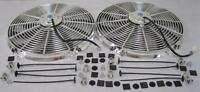 Dual 16 Universal Chrome S-blade Electric Radiator Cooling Fans W/ Mounting Kit
