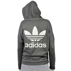 Details about Adidas Originals Oversize Washed Crew Trefoil Hodie Sweatshirt Jacket Grey