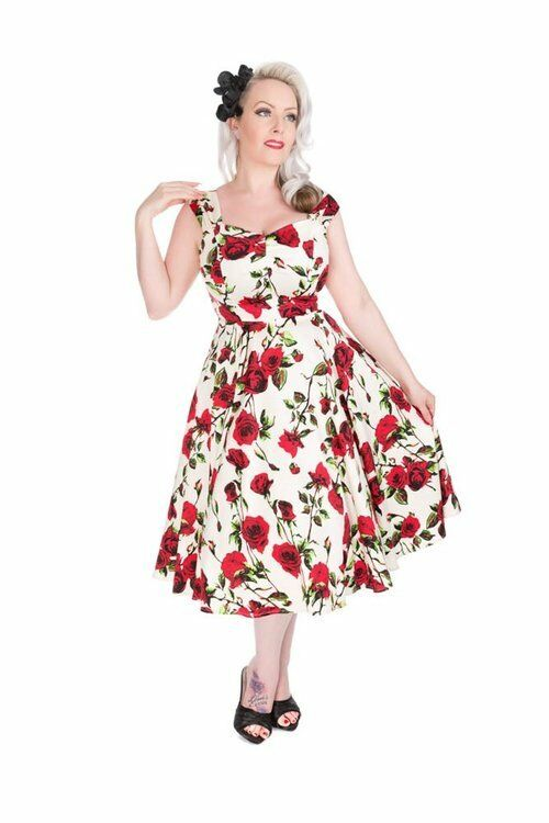 H&r London Vintage Rose Swing Jour Soleil Empire Robe Pinup 594ms Style Floral