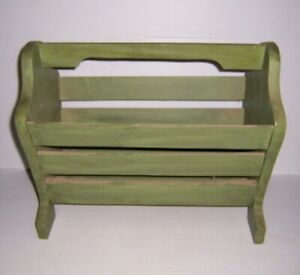 Vintage-Green-Painted-Wooden-Magazine-Rack