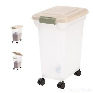 Pet Food Storage Container Dog Cat Rolling Box Airtight Holder 20 Lb