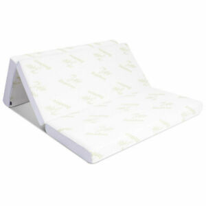 "6"" Full Size Home Tri-Folding Sofa Bed Memory Mattress Floor Mat Comfort W/Bag"