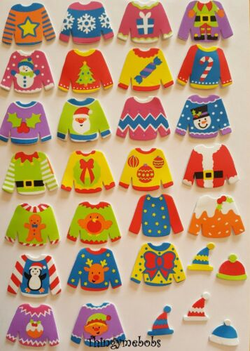 CHILDREN/'S CRAFTS//CARD MAKING//SCRAP BOOKING 13 FOAM CHRISTMAS JUMPER STICKERS