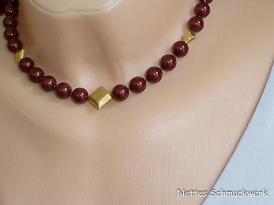 Perlenkette Halskette Perlen 10mm dunkelrot Gold 44 cm geknotet *S110302