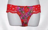 Victoria's Secret Satin & Lace Floral Second Skin Bikini Panty Red S