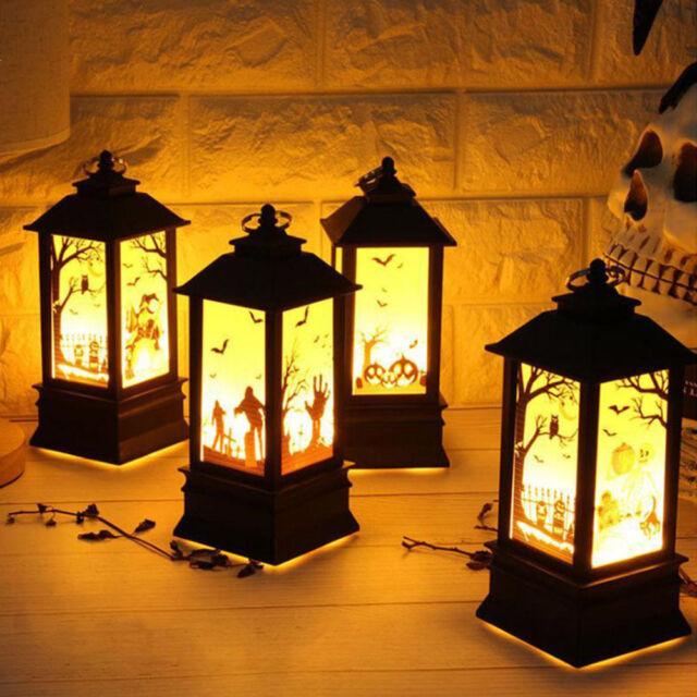 Funny Halloween Hanging Light Pumpkin Skull Flame Lamp Portable LED Lantern