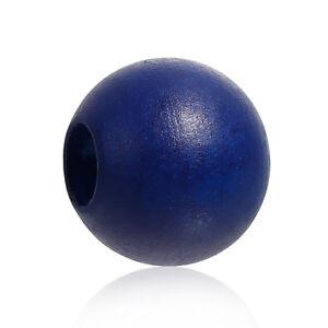 20-Holzperlen-24mm-Perlen-9-4mm-Loch-Dunkelblau-Basteln-Holzkugeln-Holz-Schmuck