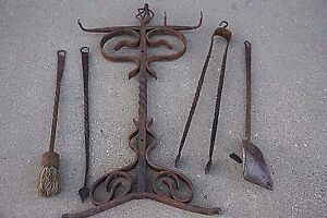 Image Is Loading Tudor Arts Amp Crafts Antique Wrought Iron Fireplace