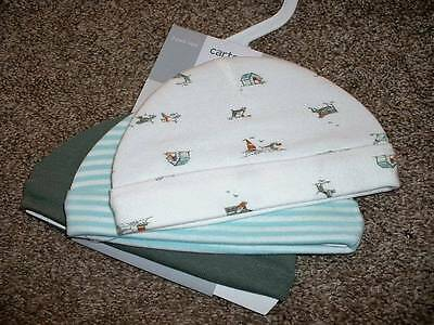 Carter's Baby Boys Hat Cap 3pk Set Teal White Dog Size 0-3 months mos 3M NWT NEW