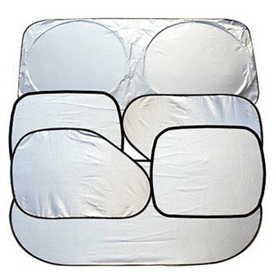 6 Pcs Foldable Silvery Car Window Windshield Sun Shade Shield Cover Sun Visor