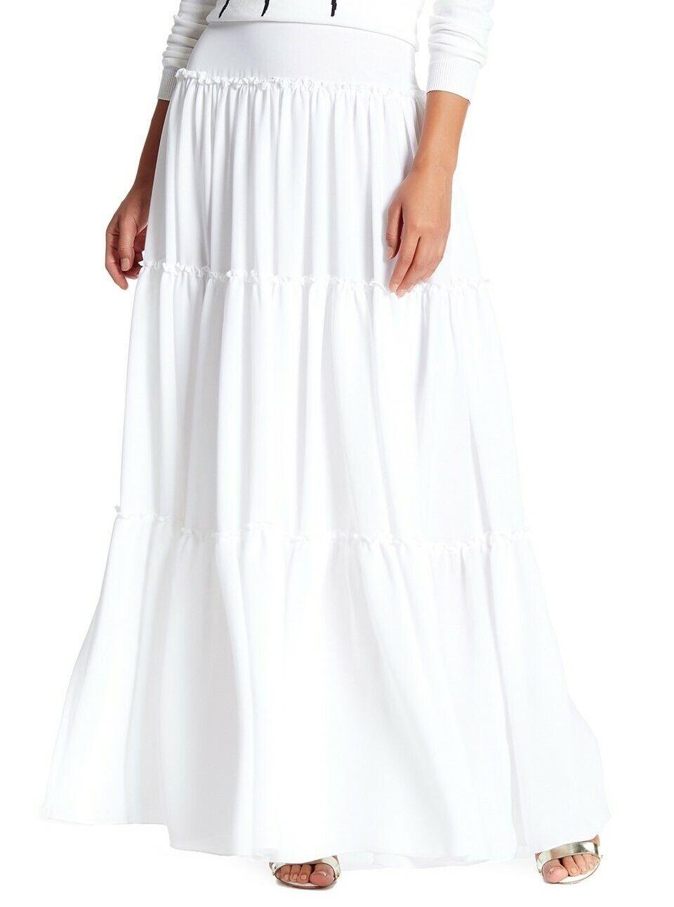 Alice + olivia 153139 Women's Isobel Ruffle Tier Peasant Skirt White Sz. 10