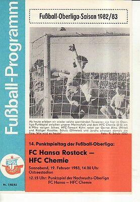 Programm 1982//83 BSG Stahl Eisenhüttenstadt Chemie PCK Schwedt