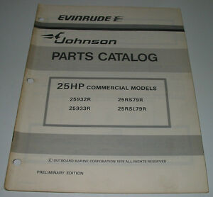 Parts Catalog Evinrude Johnson 25 Hp Commercial Models Ersatzteilkatalog 1978! Automobilia Bücher
