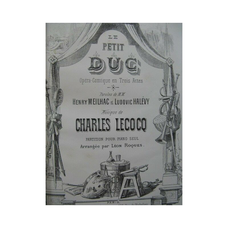 LECOCQ Charles Le Petit Duc Opéra Piano solo ca1878 partition sheet music score