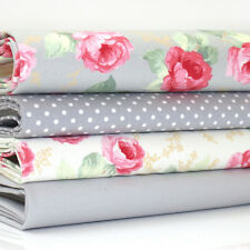 FQ Bundle - Ascot Rose - Ivory & Grey x 4 - Fat Quarter - Cotton Fabric Patchwor