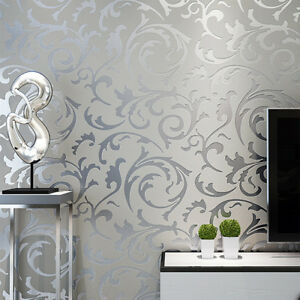 Luxury Floral Textured Satin Wallpaper Roll Living Room Bedroom Grey