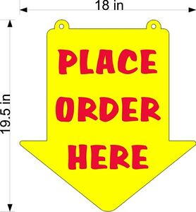 PLACE-ORDER-HERE-SIGN-YELLOW-PLEXI-GLASS-ARROW-NEW-LARGER-SIZE-18-034-X-19-5-034