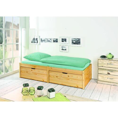 Très beau lit à rangement 90 x 200cm 2 grands tiroirs à roulettes et 1 sommie...
